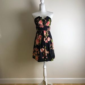 B. Darlin - Black with pink roses a-line dress